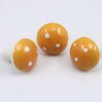 Mushrooms, foam and wires, Yellow-Orange, 3cm x 3cm x 3cm, 3 pieces