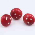 Mushrooms, foam and wires, red, 3cm x 3cm x 3cm, 3 pieces