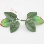 Rose leaf, Artificial fibers, Dark green, Light green, 5.5cm  x  3.5cm, 10 pieces