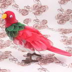 Handmade nylon product, wires and Nylon, Magenta, Dark green, Bird, 1 Animal, 19cm x 7cm