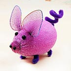 Handmade nylon product, wires and Nylon, Violet, Pig, 1 Animal, 9cm x 6cm x 6cm