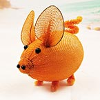 Handmade nylon product, wires and Nylon, orange, Pig, 1 Animal, 9cm x 6cm x 6cm