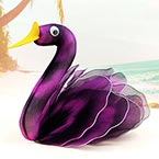 Handmade nylon product, wires and Nylon, Violet, black, Swan, 1 Animal, 15cm x 15cm