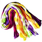 Two colours Specially dyed nylon, Nylon, Assorted colours, Stretched Size per piece 1.5m x 15cm, 5 pieces