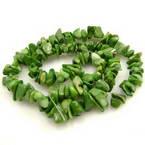 Beads, Shell, green, Irregular shape, 5mm x 8mm, 90cm strand