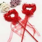Decor stick, foam and Satin, red, 34cm x 8cm x 2cm, 1 Decor stick