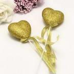 Decor stick, foam and Satin, Gold colour, 21cm x 4.5cm x 2cm, 2 Decor sticks