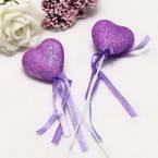 Decor stick, foam and Satin, purple, 21cm x 4.5cm x 2cm, 2 Decor sticks