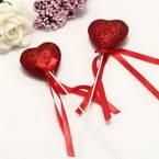 Decor stick, foam and Satin, red, 21cm x 4.5cm x 2cm, 2 Decor sticks