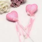 Decor stick, foam and Satin, pink, 21cm x 4.5cm x 2cm, 2 Decor sticks
