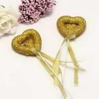 Decor stick, foam and Satin, Gold colour, 23cm x 5cm x 1.5cm, 2 Decor sticks