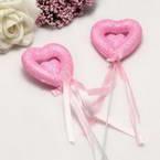 Decor stick, foam and Satin, pink, 23cm x 5cm x 1.5cm, 2 Decor sticks