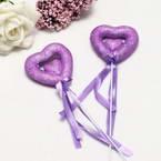 Decor stick, foam and Satin, purple, 23cm x 5cm x 1.5cm, 2 Decor sticks