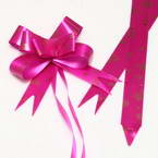 Automatic Ribbon bow, Magenta, Light brown, 10 Flower bows, 10cm x 8cm x 4cm