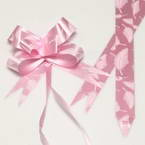 Automatic Ribbon bow, pink, white, 10 Flower bows, 10cm x 8cm x 4cm