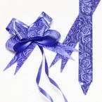 Automatic Ribbon bow, blue, white, 10 Flower bows, 10cm x 8cm x 4cm