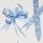 Automatic Ribbon bow, Light blue, white, 10 Flower bows, 10cm x 8cm x 4cm