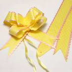 Automatic Ribbon bow, Yellow, white, 3 Flower bows, 20cm x 15cm x 7cm