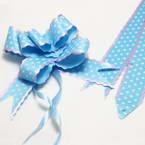 Automatic Ribbon bow, blue, white, 3 Flower bows, 20cm x 15cm x 7cm