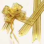 Automatic Ribbon bow, Gold colour, 2 Flower bows, 13cm x 10cm x 4cm