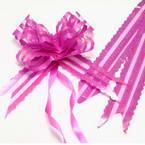 Automatic Ribbon bow, Organza, Magenta, 2 Flower bows, 19cm x 14cm x 6cm