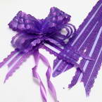 Automatic Ribbon bow, Organza, Dark purple, 2 Flower bows, 19cm x 14cm x 6cm