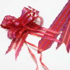 Automatic Ribbon bow, Organza, red, 2 Flower bows, 19cm x 14cm x 6cm
