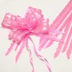 Automatic Ribbon bow, Organza, pink, 2 Flower bows, 19cm x 14cm x 6cm