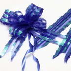 Automatic Ribbon bow, Organza, Dark blue, 2 Flower bows, 19cm x 14cm x 6cm