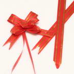 Automatic Ribbon bow, red, Gold colour, 10 Flower bows, 5.5cm x 4.5cm x 2cm