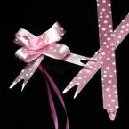 Automatic Ribbon bow, pink, white, 10 Flower bows, 5.5cm x 4.5cm x 2cm