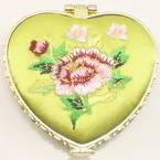 Small mirror, Olive, Heart shape, 6.5cm x 6.5cm x 1.2cm, 1  piece