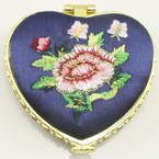 Small mirror, Dark blue, Heart shape, 6.5cm x 6.5cm x 1.2cm, 1  piece