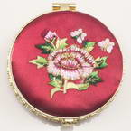 Small mirror, Dark red, Disc shape, 6.5cm x 6.5cm x 1.2cm, 1  piece