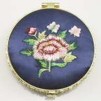 Small mirror, Dark blue, Disc shape, 6.9cm x 6.9cm x 1.2cm, 1  piece