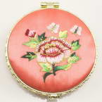 Small mirror, pink, Disc shape, 6.9cm x 6.9cm x 1.2cm, 1  piece