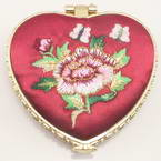 Small mirror, Dark red, Heart shape, 6.5cm x 6.5cm x 1.2cm, 1  piece