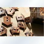 Coconut buttons, 1.8cm x 1.6cm x 0.3cm, 5pieces