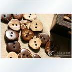 Coconut buttons, 1.5cm x 1.5cm x 0.2cm, 5 pieces