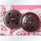 Imitation metal buttons, 1.5cm x 1.5cm x 0.3cm, 1 pieces
