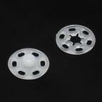 Buttons, Plastic, white, Diameter 15mm, 5 buttons