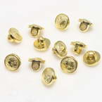 Buttons, Resin, Gold colour, 3 buttons, Diameter 15mm (approximate)