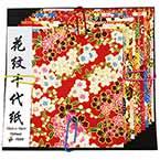 Yuzen Chiyogami floral patterns, Assorted colours, 10cm x 10cm, 10 sheets, 70 gsm