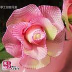 Mesh Nylon flower making kit, Olive-Green, pink, 10 flowers, Rose