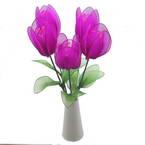 Mesh Nylon flower making kit, Magenta, 5 flowers, Tulip