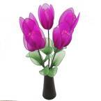 Mesh Nylon flower making kit, Magenta, 5 flowers, 4.5cm (diameter of flowers), Tulip