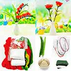 Mesh Nylon flower making kit, Pinkish red, 5 flowers