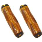 Beads, Glass, Brown , Irregular cylindrical, 40mm x 10mm, 1 Bead