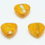 Glass beads, Glass, Yellow-Orange , Faceted heart shape, 16mm x 16mm x 6mm, 1 Bead