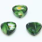 Glass beads, Glass, Dark green , Faceted heart shape, 16mm x 16mm x 6mm, 1 Bead